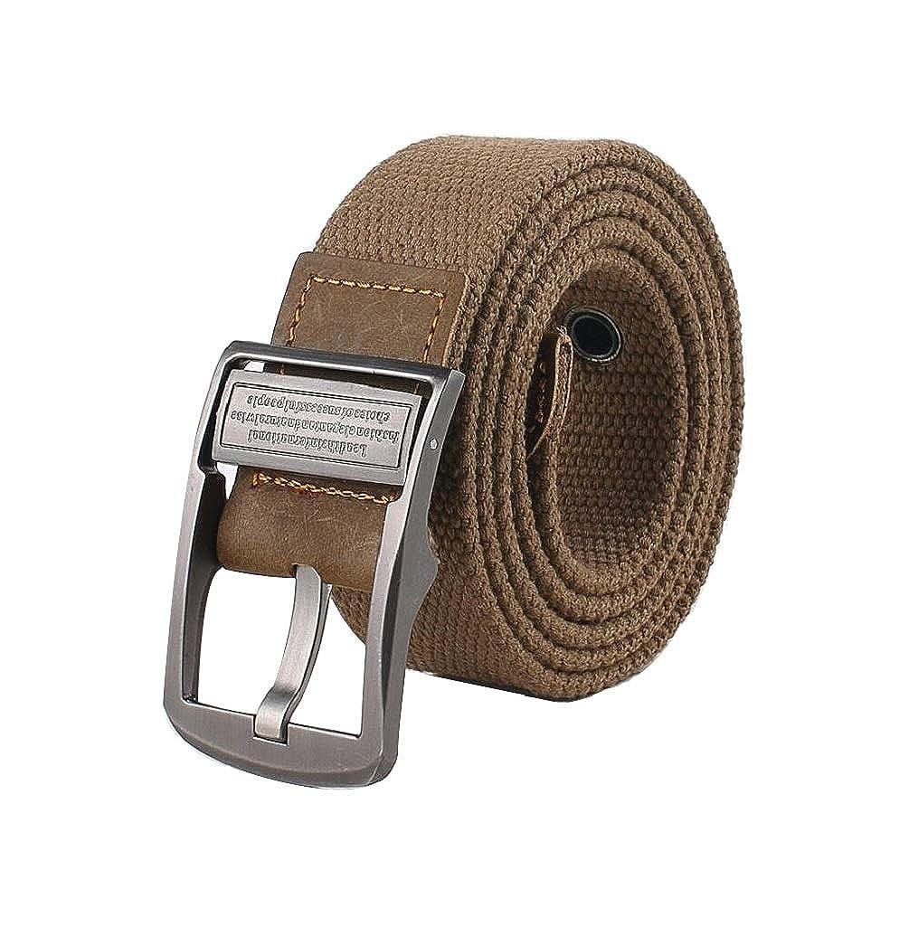 Irypulse Hombres Mujeres Cintur ó n Trenzado de Lona Cuero de PU Tela para  Hebilla giratoria del vintage con Cinturones ... 2014d5e3f30e
