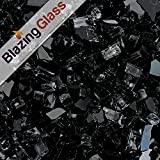 Blazing Fireglass 10-Pound Fire Glass with Fireplace Glass and Fire Pit Glass, 1/4-Inch, Black
