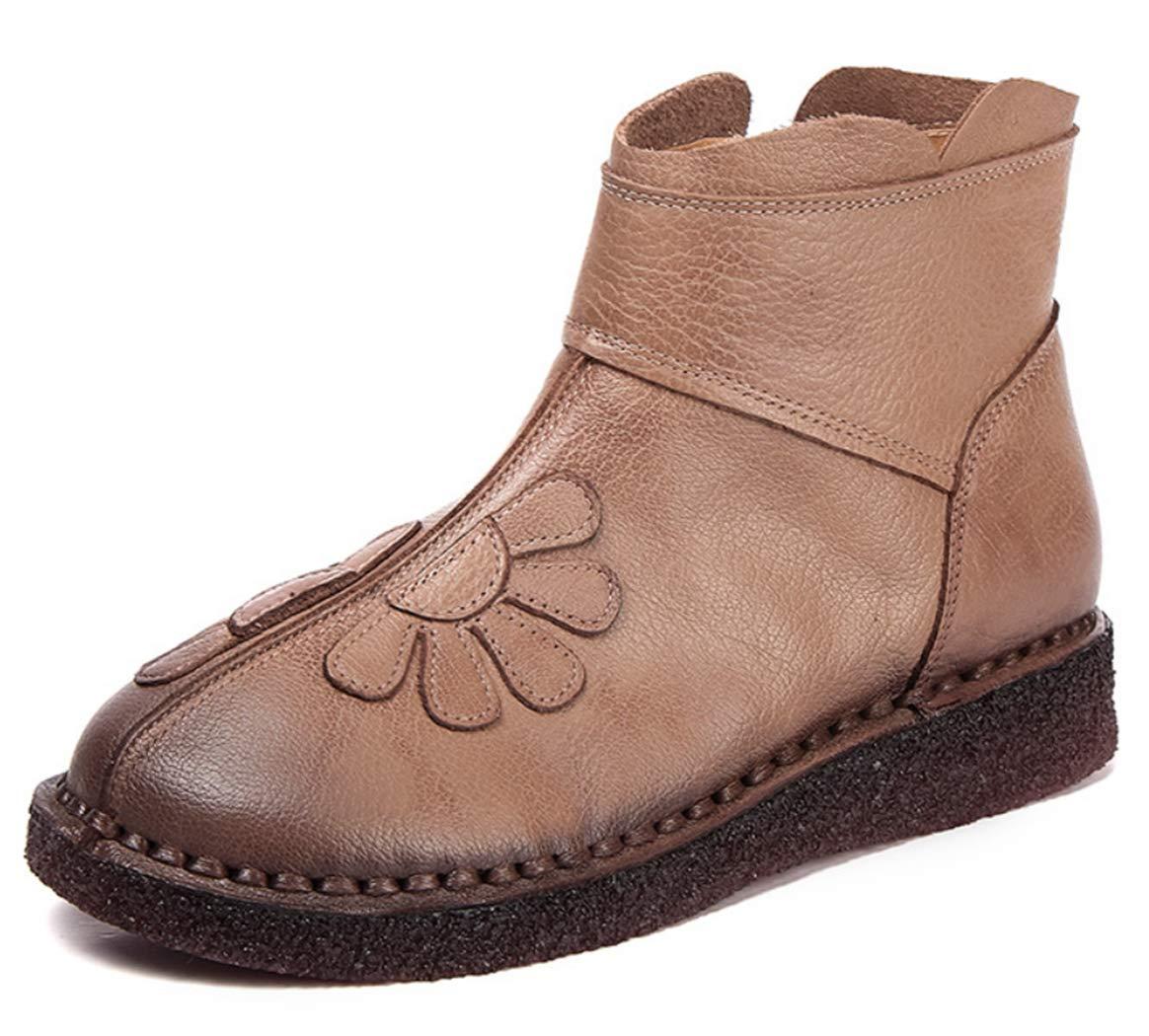 Frauen Martin Stiefel Leder Weiche Untere Runde Kopfkeile Stiefel Blaumen Dekorativen Seitlichen Reißverschluss Retro-Stil Hand Nähen Einzelner Stiefel