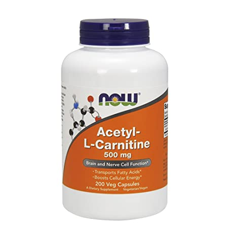 NOW Foods Acetyl L-Carnitine 500mg, 200 Vcaps, Pack of 2