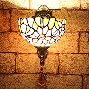 ALUS-8 inch Tiffany windows and front garden sunflower sunflowers mirror lamp classic wall lamp
