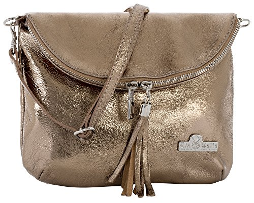 LiaTalia Real Italian Leather Mini/Small Messenger Cross Body Shoulder Bag with Protective Storage Bag - Amy [Metallic - Bronze] (Bag Leather Bronze)
