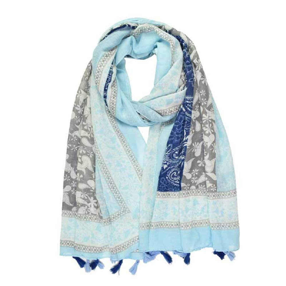 bluee pattern Shayan Women's Printed Viscose Comfortable Scarf Wrap Shawl Hijab Fashionable Lightweight With Tassels (BLACK PRINT)