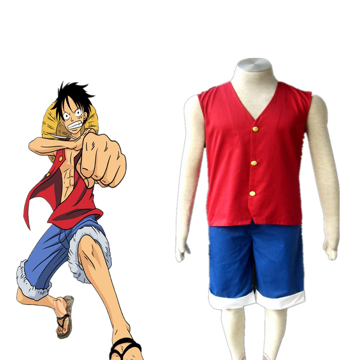 Love Anime Cosplay Costume Uniform Clothes-Monkey D Luffy 2Pcs Set