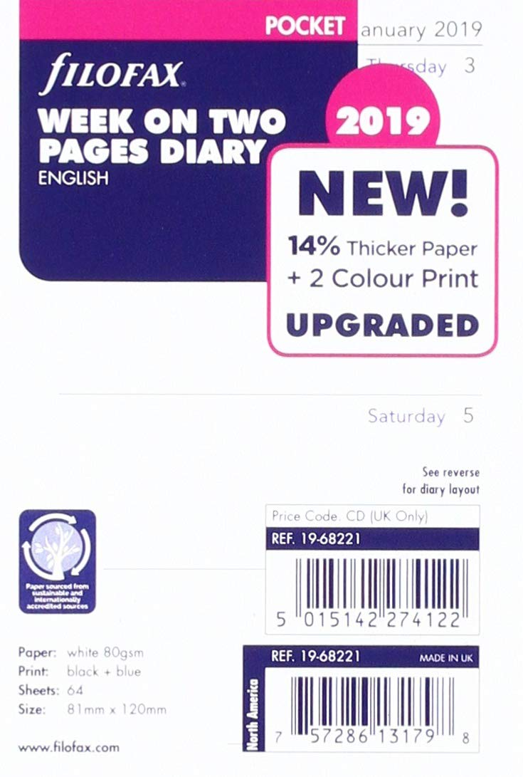 Filofax 2019 Pocket Week to View Refill, Jan 2019- Dec 2019, 4.75 x 3.25 inches (C68221-19)