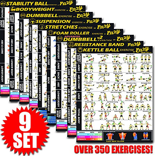 Eazy How To 9 Pack Bundle Exercise Workout Poster BIG 28 x 20'' Train Endurance, Tone, Build Strength & Muscle Home Gym Chart - Premium by Eazy How To