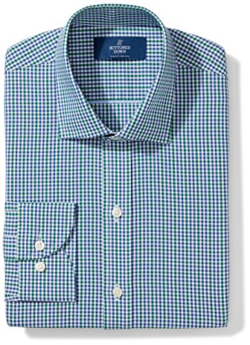 Buttoned Down Mens Slim Fit Spread Collar Pattern  Green Blue Check  16  Neck 34  Sleeve