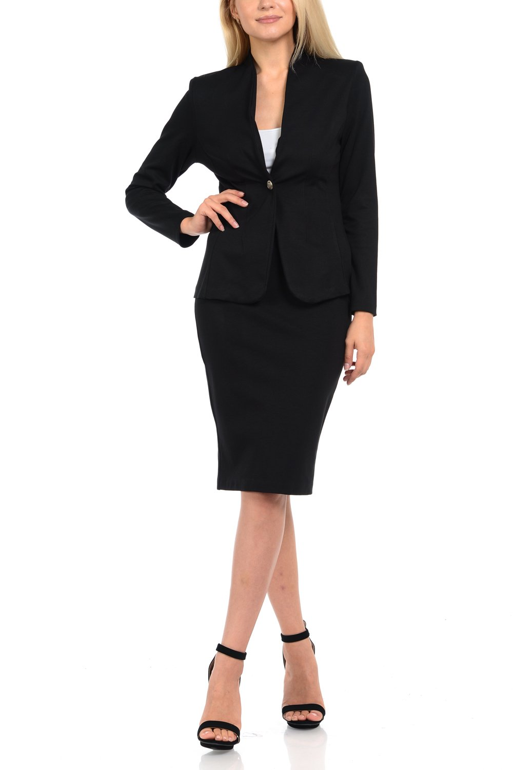 Sweethabit Womens Wear to Work Solid Skirt Suit Set (XLarge, 3124-3087B_Black)