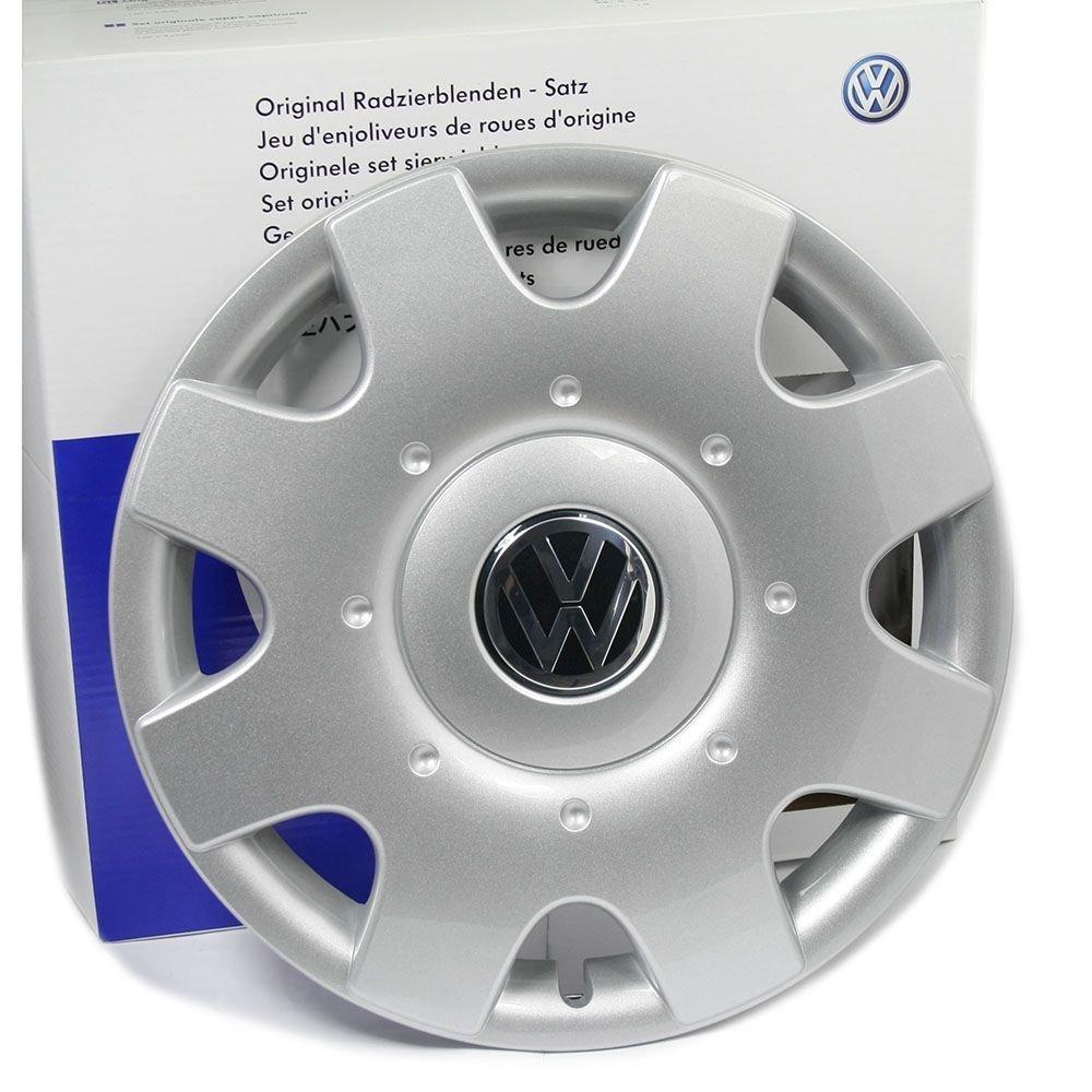 Original Volkswagen Tapacubos (4 unidades) Juego completo de 16 pulgadas tapacubos Golf Touran Jetta Sportsvan Caddy Llantas de Acero tapas protectora cromo ...