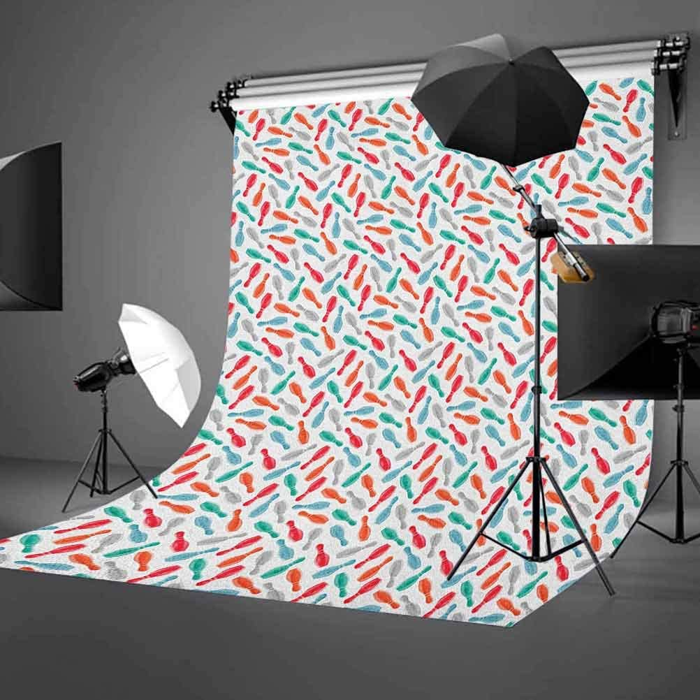 9x16 FT Bowling Vinyl Photography Backdrop,Colorful Pins Bowling Club Sports Equipment Leisure Time Watercolor Style Print Background for Baby Birthday Party Wedding Graduation Home Decoration