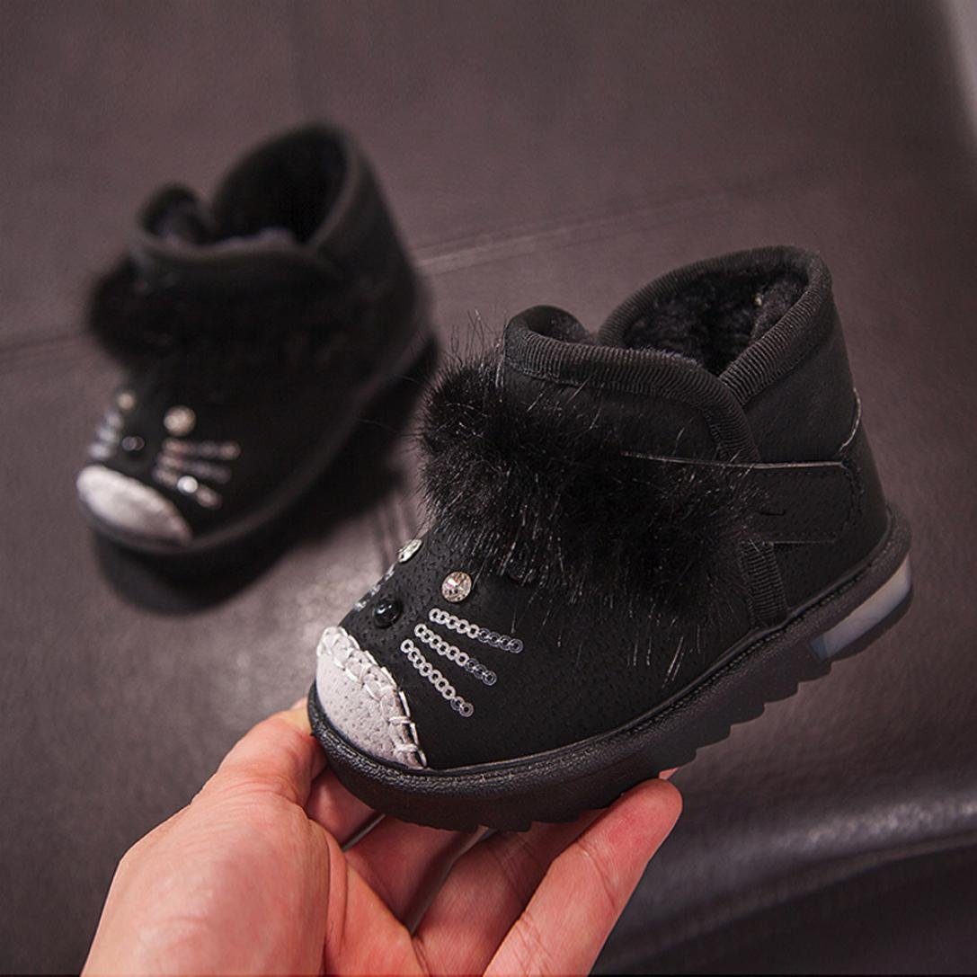 Forestime Children Toddler Cartoon Fur Warm Baby Boys Girls Luminous Shoes Sneakers Boots