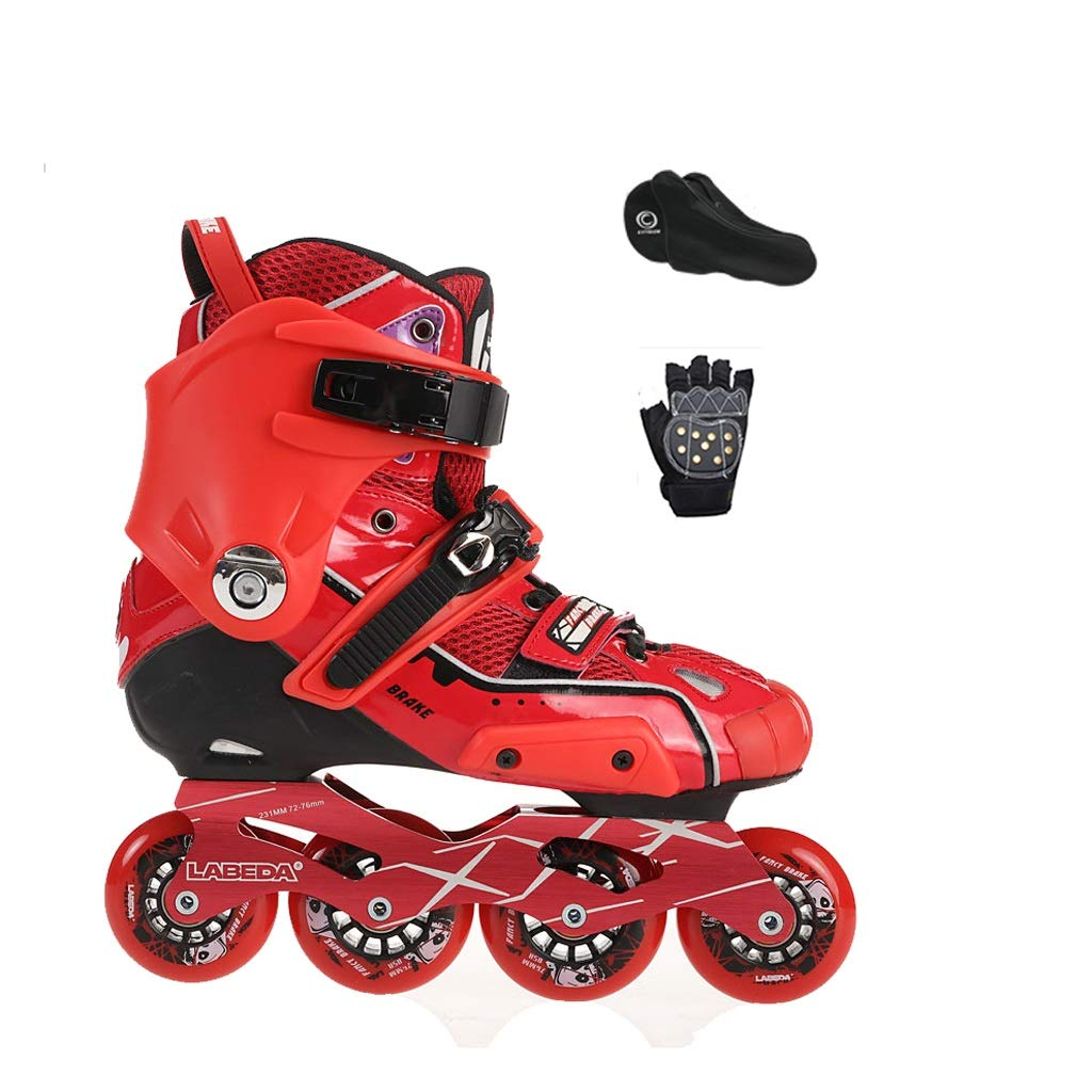 YANGXIAOYU Inline Skates, One-Piece Design Full Flash Wheels Inline Skates Set Blue Red Suitable for Men and Women Boys Girls (Color : Red, Size : 36 EU/4.5 US/3.5 UK/23cm JP)