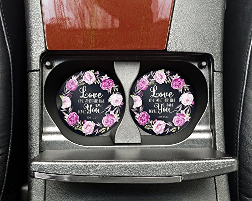Christian quote - Love one another like I have loved you - Car coasters - Sandstone auto cup holder coasters