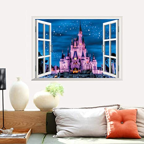 Amazon Com Zyyanaes 3d Wall Stickers Halloween Decor Diy Princess Castle Star Fantasy Girls Bedroom Universe Kids Baby Nursery Home Decal Mural 2 Kitchen Dining