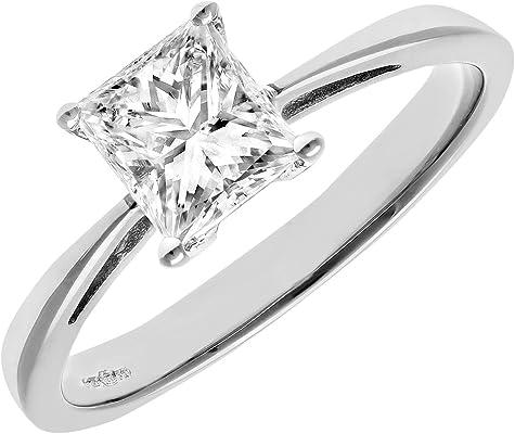 anillo de platino con diamante blanco central cuadrado para mujer