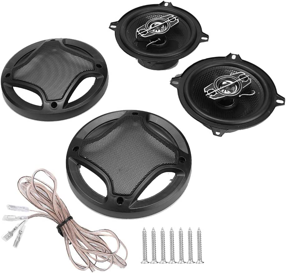 Car Coaxial Speaker 2pcs 5 Inch Car Coaxial Speaker Automobile Hi-Fi Audio Music Stereo Loudspeaker Black
