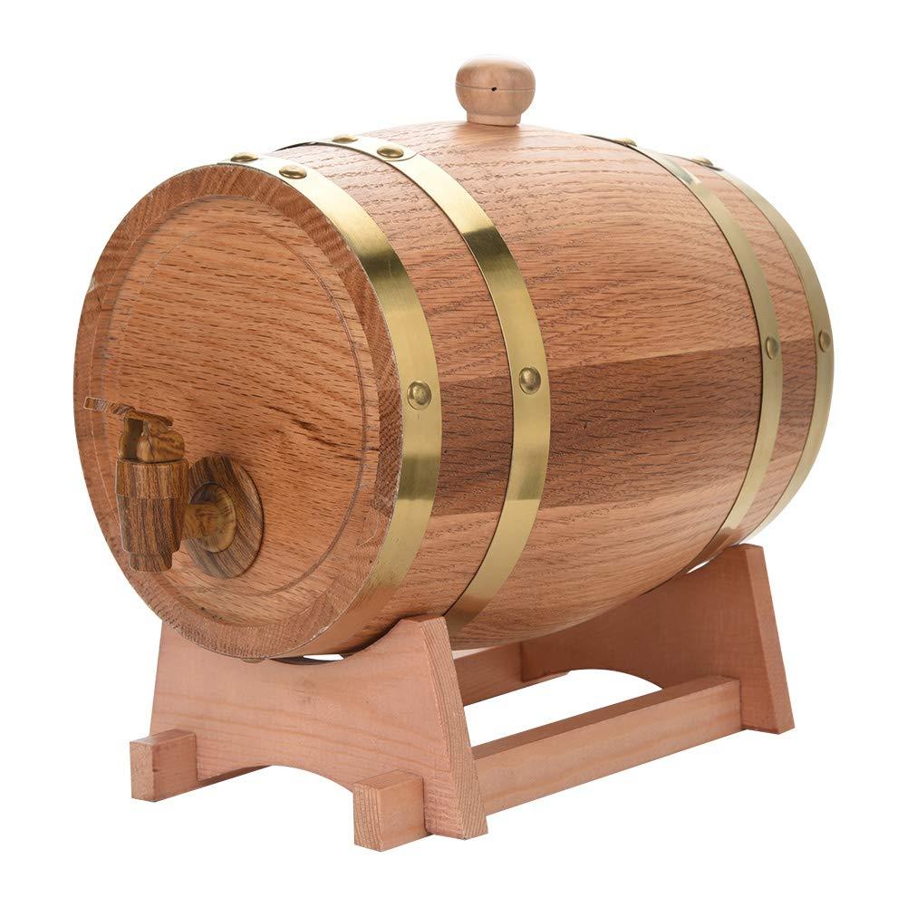 Oak Barrel, 3L Vintage Wood Oak Timber Wine Barrel Dispenser for Whiskey Aging Barrel Bourbon Tequila Brewing Port Kegs (3L) by Yosooo