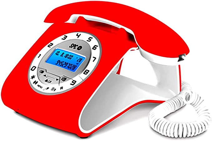SPC Telecom TEL303606R - Teléfono fijo con diseño retro, color rojo (con cable): Amazon.es: Electrónica