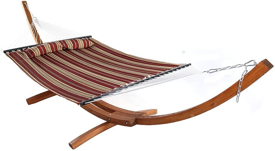 Amazon Com Sunnydaze Quilted Double Fabric 2 Person Hammock With 13 Foot Curved Arc Wood Stand Red Stripe 400 Pound Capacity Kitchen Dining