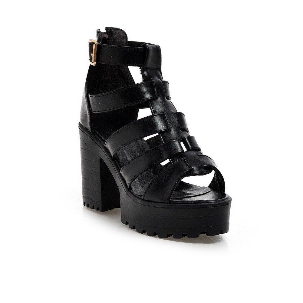 WeiPoot Women's Soft Material Zipper Open Toe High-Heels Solid Heeled-Sandals, Black, 39