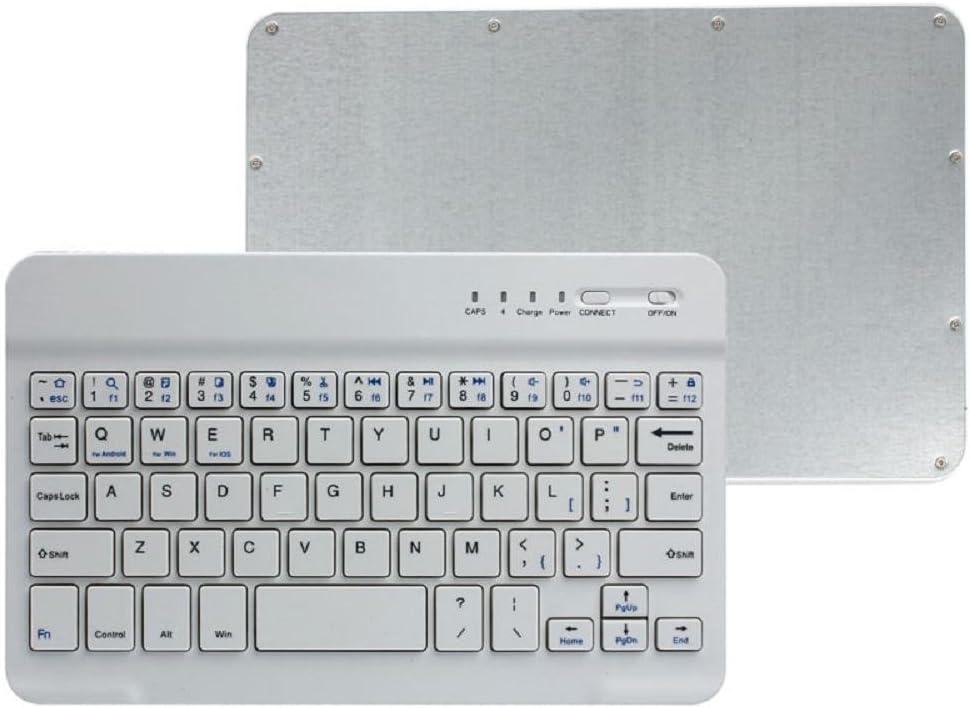 KanLin1986 Teclado inalámbrico, Aluminio Ultra Delgado Bluetooth Teclado inalámbrico para PC Tablet teléfonos celulares (Blanco)