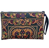 Sabai Jai - Embroidered Clutch Purse with Wristlet - Large Boho Purses and Handbags