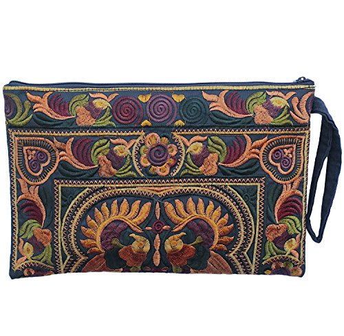 Sabai Jai - Embroidered Clutch Purse with Wristlet - Large Boho Purses and Handbags by Sabai Jai