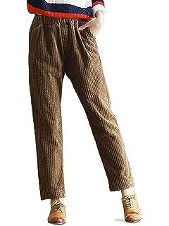 d6131b88ec3d1 OCHENTA Women s Autumn Winter Casual Corduroy Pants with Pockets UK 6-18  (Grey