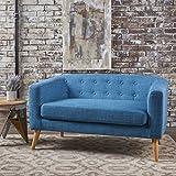Bron Yr Aur Button Back Mid Century Fabric Modern Loveseat (Muted Blue)