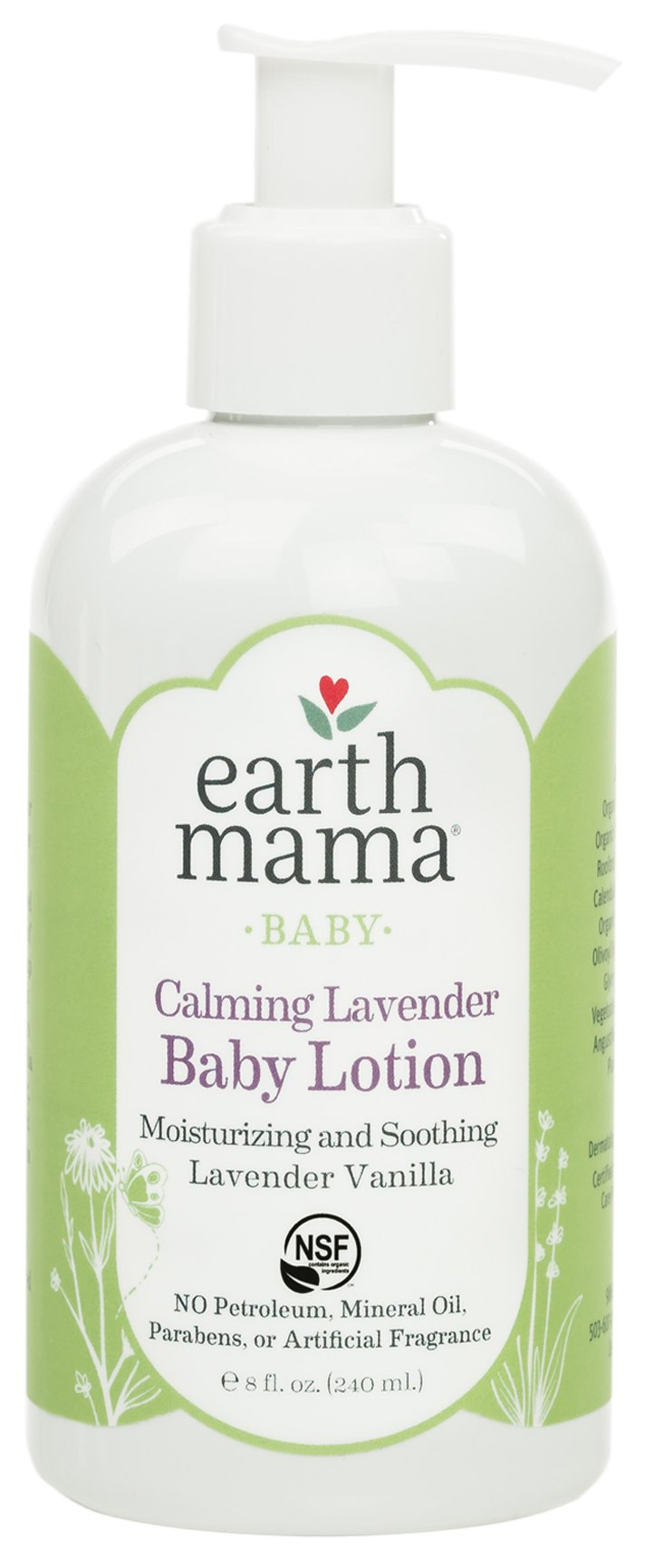 Earth Mama Calming Lavender Baby Lotion with Organic Calendula, 8-Fluid Ounce