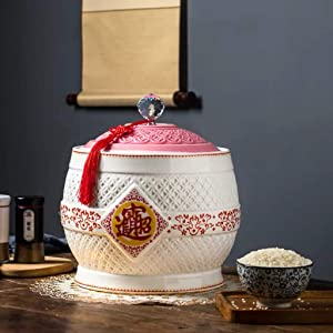 Retro Ceramic Cereal Storage Container Traditional Chinese Porcelain Grain Dispenser Suitable for Cereal, Flour, Sugar, Coffee, Rice, Nuts, Snacks, Pet Food,Tea (Color : A, Size : 12.5KG/27.5LB)