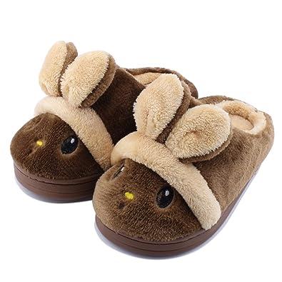buy cheapest price san francisco SENFI Kids Slippers Girls Boys Cute Bunny Warm Comfort Christmas Home  Shoes,KTS01-brown-18