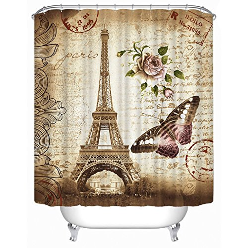 Ufine 3D Printing Waterproof Mouldproof Opacity Eiffel Tower Butterfly Bath Shower Curtain 180x180cm With Hooks