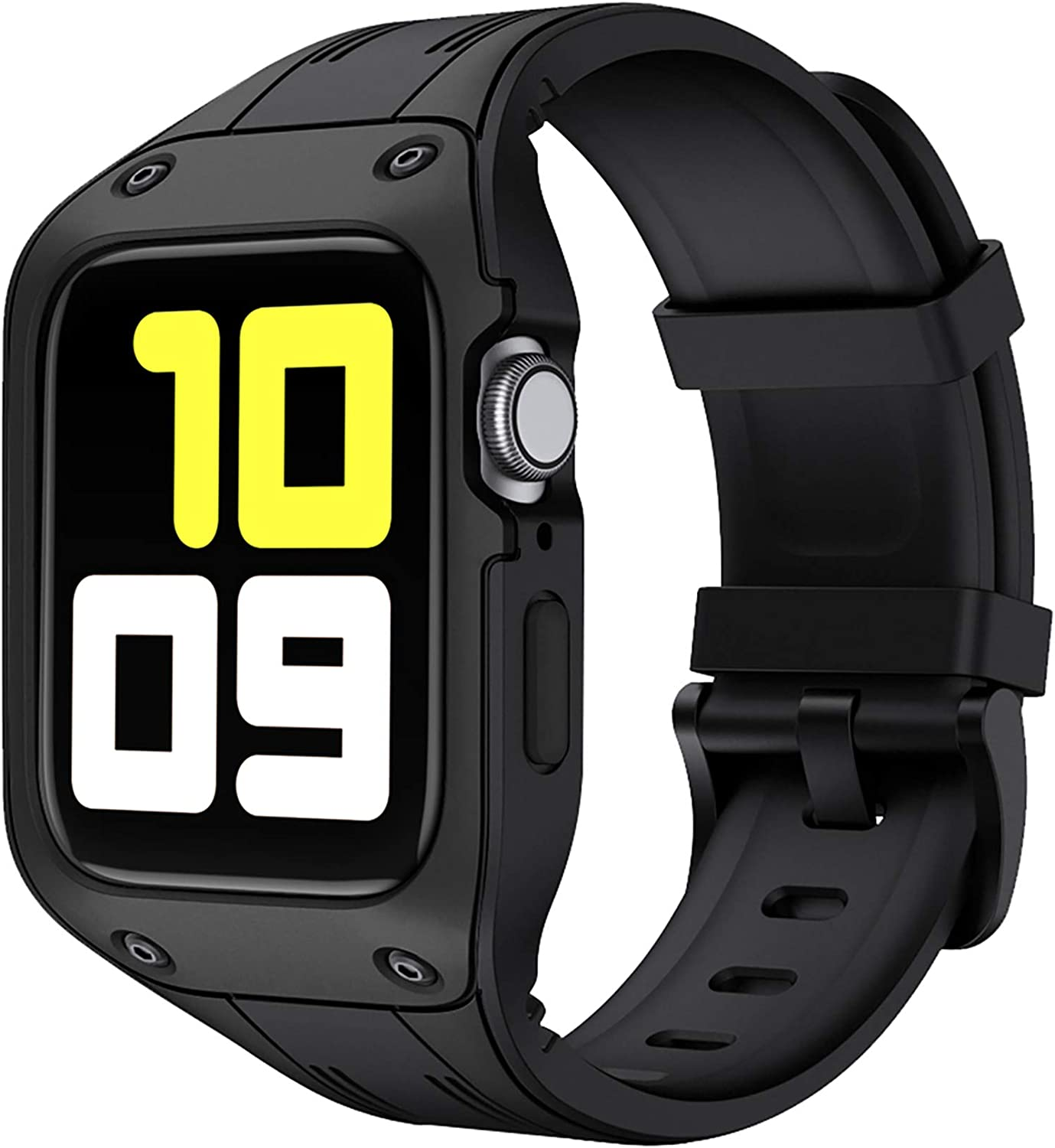 fastgo Compatible with Apple Watch Bands Rugged Bumper Case 44mm 42mm TPU Smart Watch Wristband Sports Bracelet Breathable Strap for IWatch SE Series 6 5 4 3 2 1 Women Men Gift