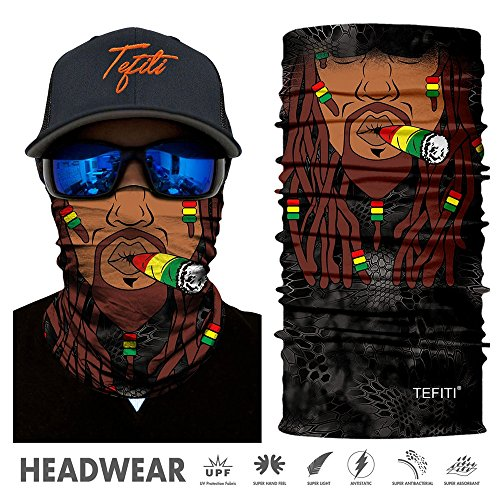 TEFITI Sports Headwear 3D UV Sun Face Masks Bandanna Balaclava Headband for Cycling Fishing Motorcycling Running Skateboarding Hunting Moisture Wicking Protection (HR-040964)