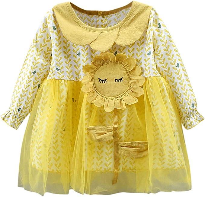 QinMMROPA Bebe niña Vestido de Girasol de Princesa de Tul Flores ...