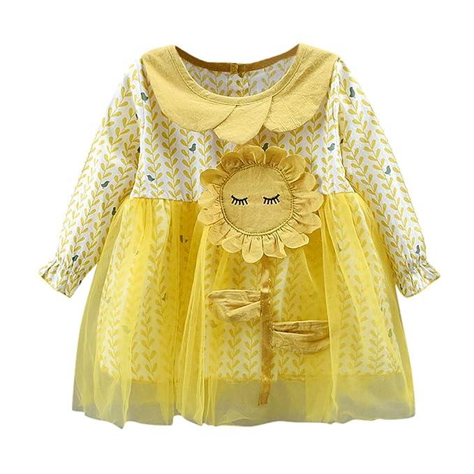 QinMMROPA Bebe niña Vestido de Girasol de Princesa de Tul ...