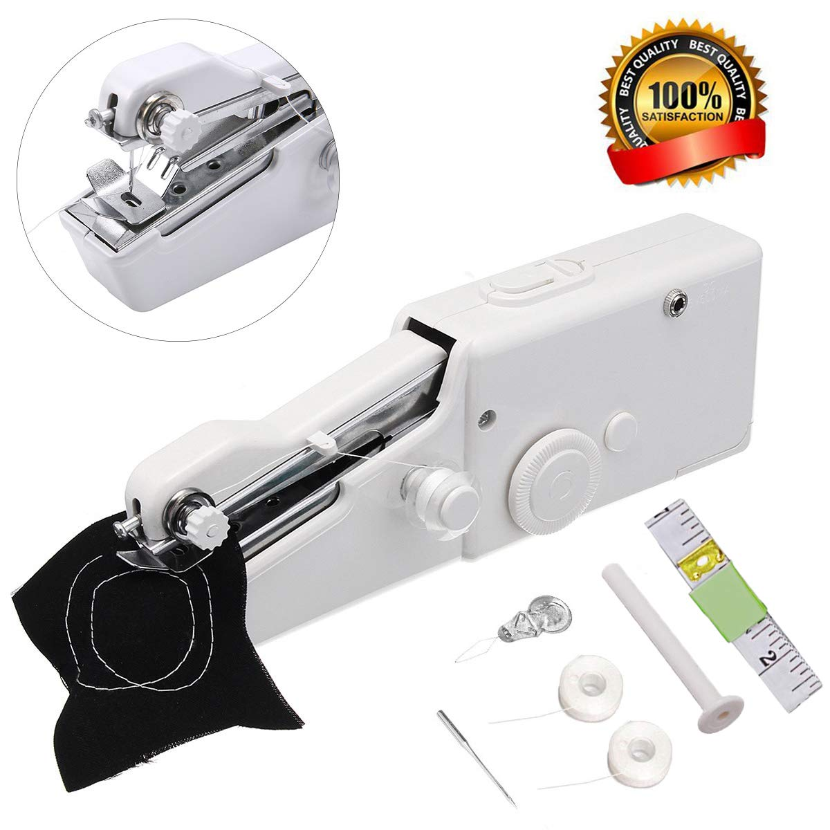 Mini Handheld Sewing Machine for Beginners Kids Home Travel Sewing Cordless Small Handy Stitch Sewing Machine Easy Quick Repairs Fabric Leather Denim
