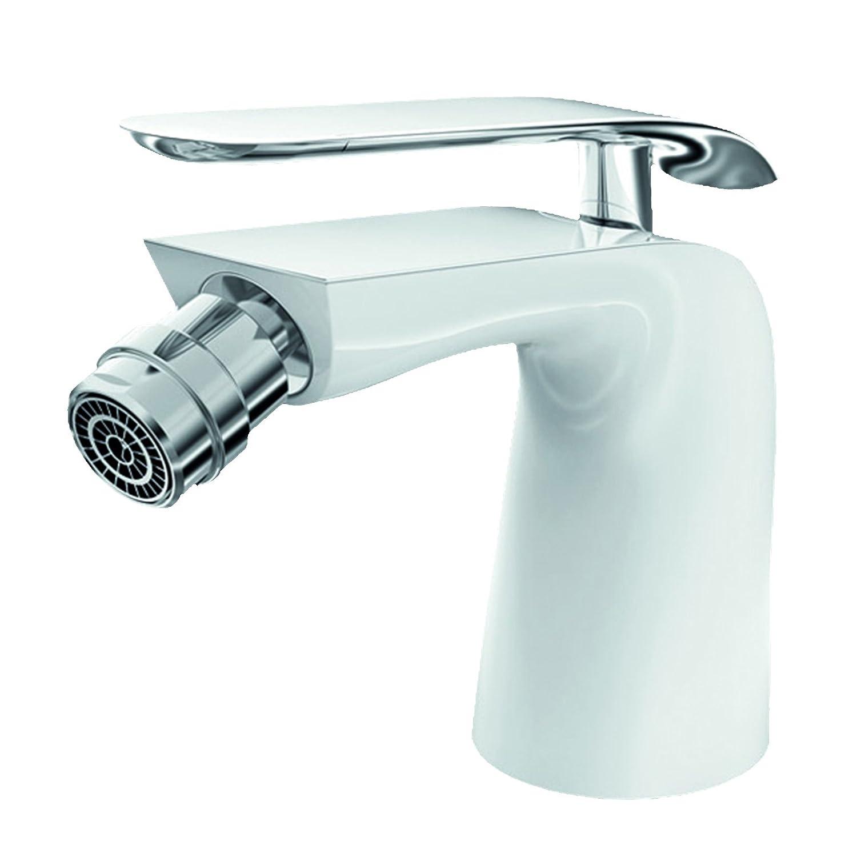 Lux-aqua Design Bidet-Armatur verchromt mit Einbrennlack in weiß ZS46375JW Kailijing Trading GmbH