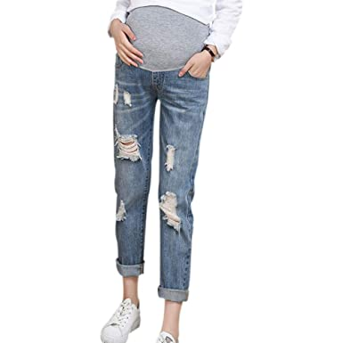 Womens Maternity Jeans Ripped Stretchy Slim Leggings Vintage Slim-fit Denim Pants Over The Bump Comfy Pregnant Trousers with Pocket