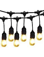 Outdoor String Lights LED, BRIMAX 48ft Heavy Duty Commercial Grade IP65 Waterproof String Lights,15 E27 Sockets, 16 LED Bulbs (2W Warm White),Weatherproof Garden lights for Patio,Backyard,Cafe,Wedding