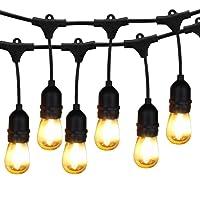 Outdoor String Lights LED, BRIMAX 48ft Heavy Duty Commercial Grade IP65 Waterproof String Lights,15 E27 Sockets, 18 LED Bulbs (2W Warm White),Weatherproof Garden lights for Patio,Backyard,Cafe,Wedding