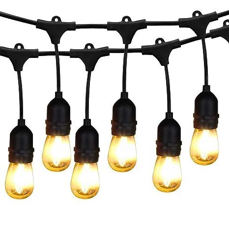pretty nice dfa0d 23f8e Outdoor String Lights LED, BRIMAX 48ft Heavy Duty Commercial Grade IP65  Waterproof String Lights,15 E27 Sockets, 16 LED Bulbs (2W Warm ...