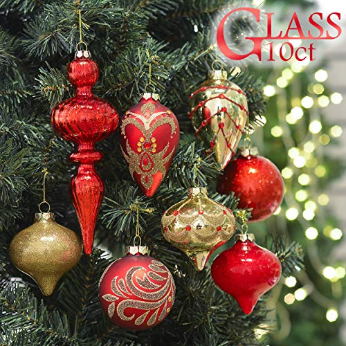 Valery Madelyn 10ct Luxury Red Gold Christmas Ball Ornaments, Glass Blown Ornaments, 3.15inch-4.72inch,Themed with Tree Skirt(Not Included)