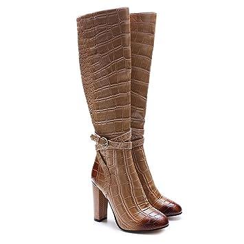 Patrón del cocodrilo europeos y americanos grueso tacones botas de oficina lado cremallera moda mujer ,