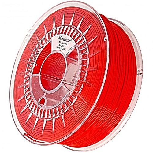 Minadax® 1kg Premium Qualitaet 3mm (2,85mm) ABS-Filament rot fuer 3D-Drucker hergestellt in Europa