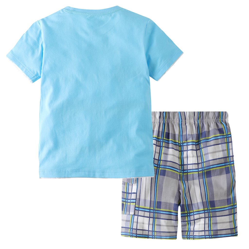 Hsctek Boys' Cotton Clothing Sets, Short Sleeve T-Shirt & Short Sets for Summer(Alphabetic Robot, 2T/2-3YRS) by Hsctek (Image #2)