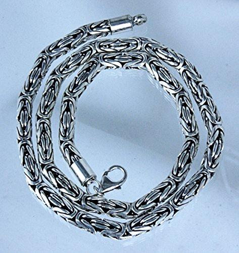 Thorshammer pendentif rond en argent sterling 925 avec chaîne gourmette en argent sterling 925, épaisseur 6 mm 45-65 cm