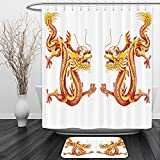 Vipsung Shower Curtain And Ground MatDragon Decor Collection Identical Twin Dragons on Symmetric Axis Religious Mythic Featured Heritage Animal Design Orange RedShower Curtain Set with Bath Mats Rugs