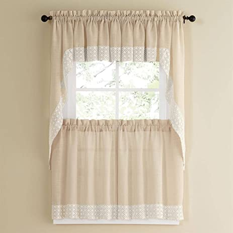 Attrayant Bed Bath N More French Vanilla Country Style Kitchen Curtains With White  Daisy Lace Accent Swag